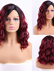 cheap -Synthetic Wig Curly Side Part Wig Short Black / Red Synthetic Hair Women's Cosplay Party Fashion Red