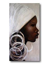 cheap -Stretched Oil Painting Hand Painted Canvas Abstract Comtemporary Modern High Quality Girls Lady Oil Ready to Hang