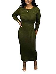 cheap -remxi women casual maxi sweater dress long sleeve open back plain solid long knit dresses green s
