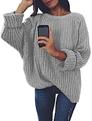 cheap -Women's Solid Color Sweater Cotton Long Sleeve Sweater Cardigans Round Neck Navy Wine Red West Red