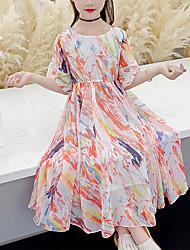 cheap -Kids Little Girls' Dress Tie Dye Holiday Festival Rainbow Maxi Half Sleeve Sweet Dresses Summer Regular Fit 3-13 Years