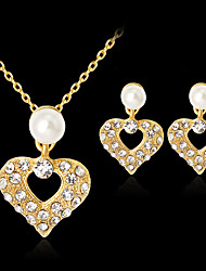cheap -Women's Bridal Jewelry Sets Geometrical Heart Fashion Imitation Pearl Gold Plated Earrings Jewelry Gold For Christmas Party Wedding Gift Festival 1 set