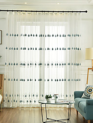 cheap -Two Panel European Style Embroidered Window Screen Living Room Bedroom Dining Room Children's Room Translucent Tulle