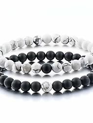 cheap -couples gifts,long distance relationship friendship bracelets black matte agate & white howlite natural energy stone beads bracelets bangle for his hers men women at birthday