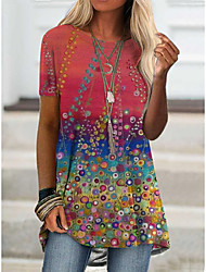 cheap -Women's T shirt Floral Graphic Print Round Neck Tops Basic Boho Basic Top Purple Red