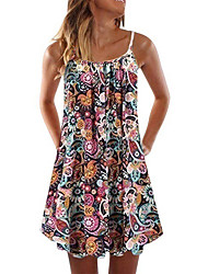 cheap -wish amazon new european and american new products spring and summer 2021 printed folded loose sling dress