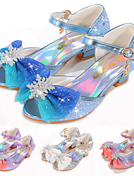 cheap -Girls' Sandals Flower Girl Shoes Princess Shoes School Shoes Rubber PU Little Kids(4-7ys) Big Kids(7years +) Daily Party & Evening Walking Shoes Rhinestone Bowknot Buckle Purple Blue Pink Spring