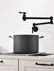 cheap -Two Handles One Hole Kitchen Faucet Painted Finishes Pot Filler Wall Mounted Bathroom Sink Faucet Collapsible Only Cold Water