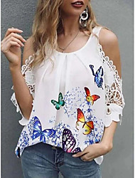 cheap -Women's Blouse Eyelet top Shirt Graphic Butterfly Lace Trims Print U Neck Basic Streetwear Tops Blue Yellow Green