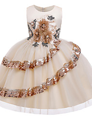 cheap -Kids Little Girls' Dress Jacquard Sequin Flower Birthday Party Sequins Beaded Layered Purple As Picture Wine Above Knee Sleeveless Flower Cute Dresses Children's Day All Seasons Slim 3-12 Years