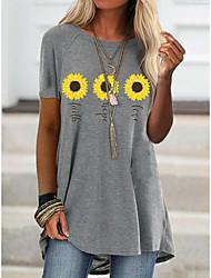 cheap -2021 amazon aliexpress spring new foreign trade cross-border fashion women's short-sleeved flower offset printing t-shirt 9109