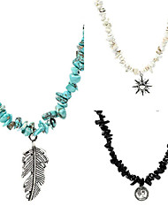 cheap -beach style natural gravel necklace female alloy pendant short clavicle chain