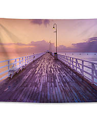 cheap -Wall Tapestry Art Decor Blanket Curtain Hanging Home Bedroom Living Room Color pink Polyester Sunrise View of the Pier in Brisbane Queensland Australia