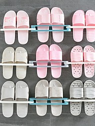 cheap -3 in 1 Shoes Rack PP Sandals Slippers Hanger Wall Mounted Folding Adhesive Towel Storage Shelf for Home Bathroom Storage Tool
