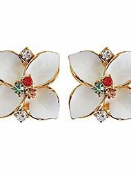 cheap -navachi 18k gold plated colorful crystal white enamel leaves flower omega back az1030 earrings