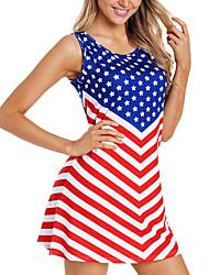 cheap -amazon wish2019 new summer american flag five-pointed star digital print sleeveless dress women's clothing