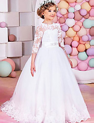 cheap -Princess / Ball Gown Floor Length Party / Wedding Flower Girl Dresses - Lace / Tulle Half Sleeve Jewel Neck with Sash / Ribbon / Bow(s) / Solid