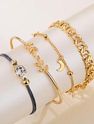 cheap -rhinestone bracelet set 4-piece set simple alloy metal chain bracelet