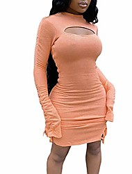 cheap -qilinxuan women's sexy long sleeve hollow out bodycon side drawstring party club mini dress (coral red, large)