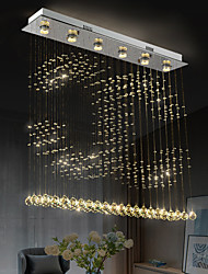 cheap -Crystal Chandelier Ceiling Pendant Light Dining Table Dining Lamp Rectangular Personality Dining Room Lamp Bar Modern Chandelier