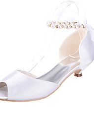 cheap -Women's Wedding Shoes Kitten Heel Peep Toe Satin Imitation Pearl Ribbon Tie Solid Colored White Black Purple
