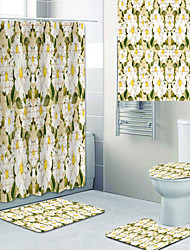 cheap -Blooming Beautiful Flowers Printed Bathtub Curtain liner Covered with Waterproof Fabric shower Curtain for Bathroom home Decoration with hook floor mat and four-piece Toilet mat