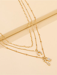 cheap -choker retro simple three-layer chain necklace female clavicle chain short necklace key lock pendant