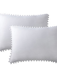 cheap -Pillowcase cover solid color washed cotton without zipper closures with ball fringe extra soft and breathable and fade resistant(2pcs pillowcases)