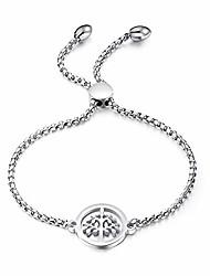 cheap -life tree charm stainless steel bracelet for women teen girls, 18k gold/ rose gold / white gold plated adjustable link chain bracelet gift friendship (white)