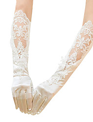 cheap -Satin Knee-Length Glove Gloves / Sequins With Appliques / Solid