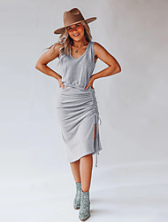 cheap -european and american women's clothing independent station amazon hot sale 2021 summer new product square neck drawstring sleeveless dress
