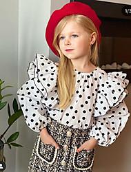 cheap -Kids Girls' Clothing Set Polka Dot Long Sleeve Beaded Print Daily Wear White Active Regular 2-6 Years