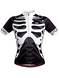 cheap -21Grams Men's Short Sleeve Cycling Jersey Black+White Skeleton Bike Jersey Top Mountain Bike MTB Road Bike Cycling Quick Dry Breathable Sports Clothing Apparel / Stretchy / Advanced