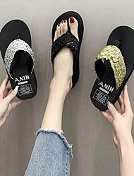 cheap -Women's Sandals Wedge Heel EVA(ethylene-vinyl acetate copolymer) Solid Colored Black / White Black Gold