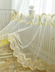 cheap -Two Panel European Style Lace Embroidered Window Screen Living Room Bedroom Dining Room Children's Room Translucent Tulle