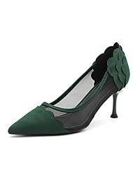 cheap -Women's Heels Pumps Pointed Toe Booties Ankle Boots Mesh Lace-up Solid Colored Black Green / Booties / Ankle Boots