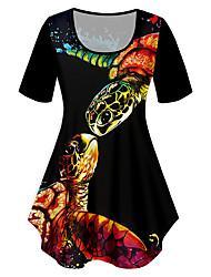 cheap -Women's Plus Size Tops T shirt Print Graphic Animal Large Size Crewneck Short Sleeve Basic Big Size XL XXL 3XL 4XL 5XL Black
