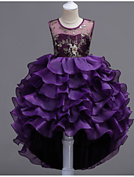 cheap -Kids Little Girls' Dress Floral Solid Color Layered Dress Party Wedding Prom Layered Ruffle Embroidery Blue Purple Green Princess Dresses Summer 3-13 Years