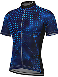 cheap -21Grams Men's Short Sleeve Cycling Jersey Summer Spandex Polyester Black Red Blue Polka Dot Bike Top Mountain Bike MTB Road Bike Cycling Quick Dry Breathable Reflective Strips Sports Clothing Apparel
