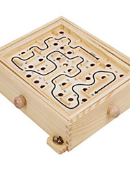 cheap -Labyrinth Wooden Maze Game with Two Steel Marbles Puzzle Game for Adults Boys and Girls