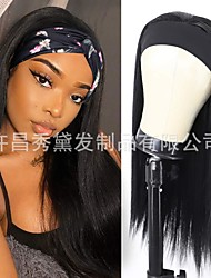 cheap -wig female style chemical fiber long straight hair ice silk hair with turban hair straight headband wig