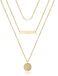 cheap -gold simple thin necklace stacked multi-layer stainless steel necklace lady bump disc necklace