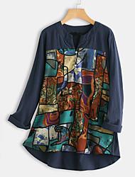 cheap -Women's Plus Size Tops Blouse Shirt Graphic Tribal Button Long Sleeve V Neck Navy Wine Red Brown Big Size L XL 2XL 3XL 4XL