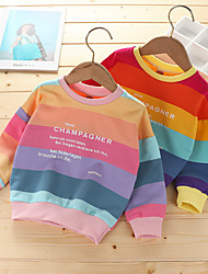 cheap -Kids Girls' Hoodie & Sweatshirt Long Sleeve Rainbow Letter Casual To-Go Children Autumn / Fall Tops Active Loose Yellow Blushing Pink 2-8 Years