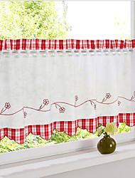 cheap -Tier Curtains Short Window Treatments Floral/Flower Plaid 1 Panel For Kitchen Coffee House