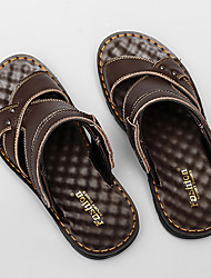 cheap -Men's Sandals Casual Beach Daily Walking Shoes Nappa Leather Breathable Non-slipping Wear Proof Black Brown Summer