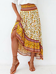 cheap -Women's Holiday Casual / Daily Vintage Boho Skirts Floral Graphic Print Yellow