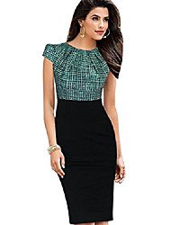 cheap -womens printed ruffles neck ol pencil wear to work office career dress - green - small