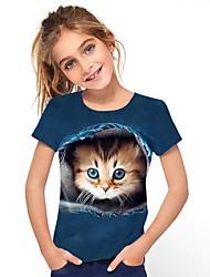cheap -Kids Girls' Tee Short Sleeve Cat Graphic Animal Rainbow Children Tops Active Cute 3-12 Years