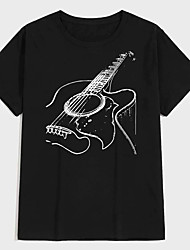 cheap -Men's Unisex Tee T shirt Hot Stamping Graphic Prints Guitar Plus Size Print Short Sleeve Casual Tops 100% Cotton Basic Designer Big and Tall Black